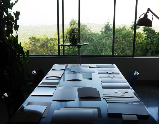 Infiniti laminate samples spread on table
