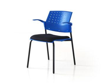 Movie plastic back 4 leg upholstered chair