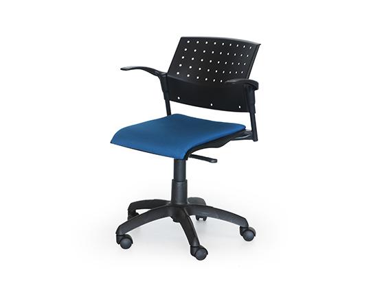 Movie plastic back swivel upholstered chair