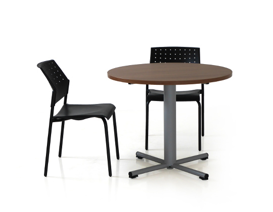 Radius table with movie chairs