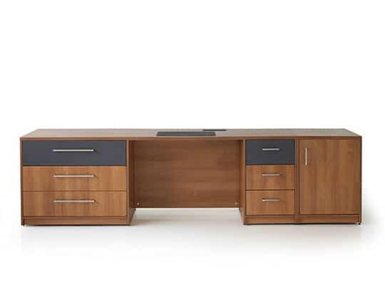 vero+ desk with fridge unit